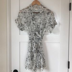 Sheer Black & White Bird Toile Print Wrap Dress